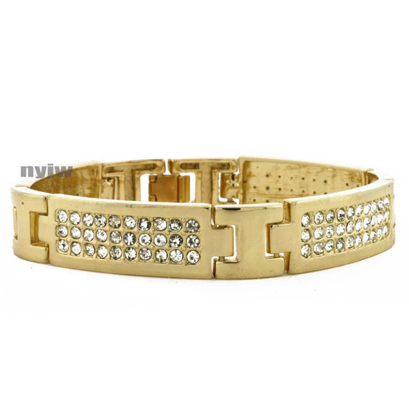 NEW SQUARE LINK GOLD PLATED MICRO PAVE SIMULATED DIAMOND 8.5 BRACELET KB020G - Raonhazae