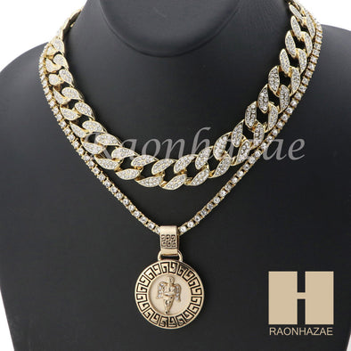 "MEN 14K GOLD PT ANGEL ROUND ICED OUT MIAMI CUBAN 16""~30"" CHOKER TENNIS CHAIN S33 - Raonhazae"