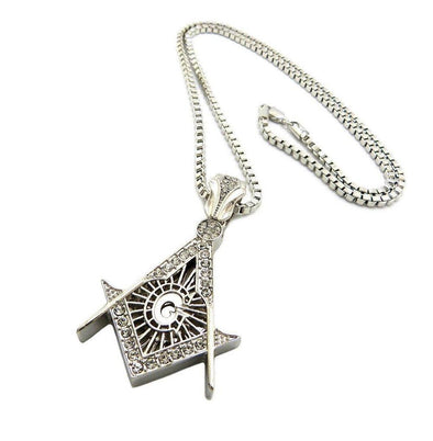 "NEW MINI LITTLE WORLD FREEMASON MASONIC SYMBOL PENDANT 24"" BOX CHAIN JSP032M - Raonhazae"