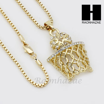 RUBY BASKETBALL PLUG PENDANT ROPE BOX CUBAN CHAIN NECKLACE SET S09 - Raonhazae