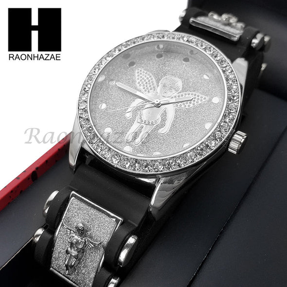 MEN ICED OUT TECHNO PAVE WATCH & ANGEL PENDANT ROPE CHAIN NECKLACE GIFT SET SS77 - Raonhazae