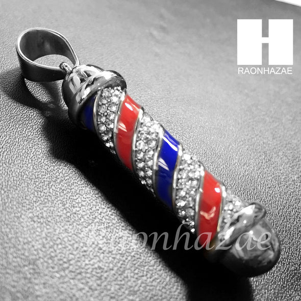 Mens 316L Stainless steel Silver Barber Shop Pole Pendant SS014 - Raonhazae