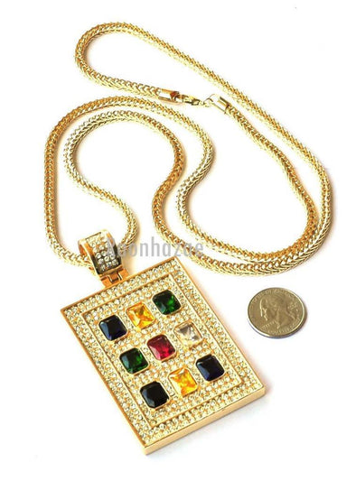 "HIP HOP ICED OUT MULTI COLOR RUBY PENDANT 4mm 36"" FRANCO CHAIN NECKLACE JP245G - Raonhazae"