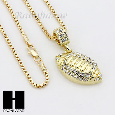 "ICED OUT RUBY FOOTBALL PLUG PENDANT 24"" 30"" ROPE BOX CUBAN CHAIN NECKLACE SET S1 - Raonhazae"