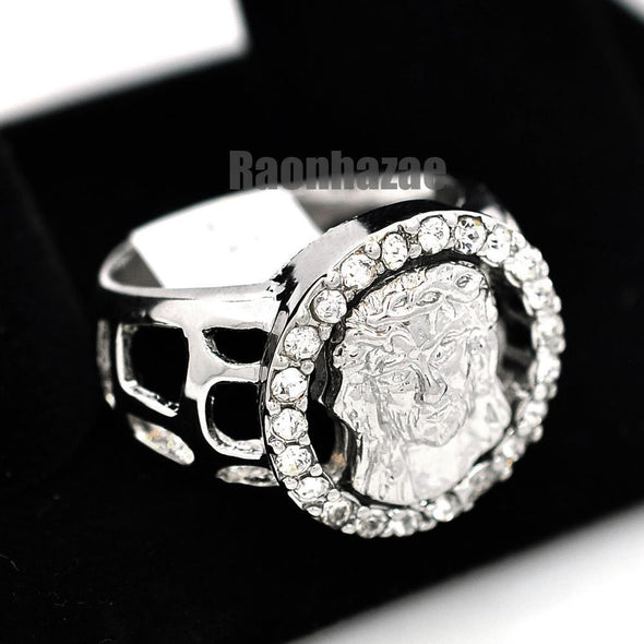 MENS GOD JESUS CHRIST FACE CHRISTIAN CHURCH SILVER PLATED RING SIZE 8 - 13 N013S - Raonhazae