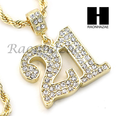 "21 SAVAGE NUMBER PENDANT DIAMOND CUT 30"" CUBAN CHAIN NECKLACE SET G25 - Raonhazae"