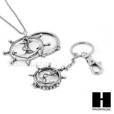 Magnifying Glass Wheel with Anchor Key Chain & Pendant Chain Necklace Set SJ1S - Raonhazae