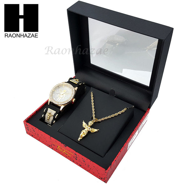 MEN ICED OUT TECHNO PAVE WATCH & ANGEL PENDANT ROPE CHAIN NECKLACE GIFT SET SS76 - Raonhazae