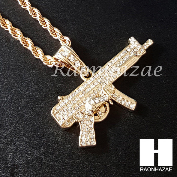 "MEN ICED OUT MACHINE GUN CHAIN DIAMOND CUT 30"" CUBAN LINK CHAIN NECKLACE S074G - Raonhazae"