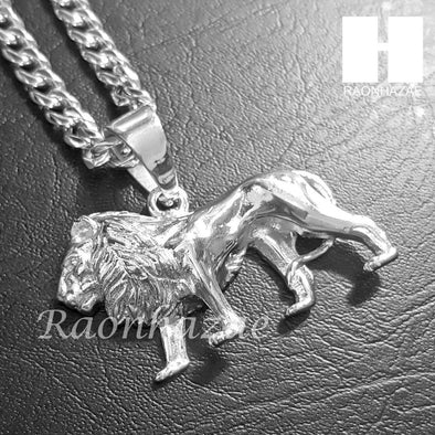 316L Stainless steel Silver King Lion w/ 5mm Cuban Chain SG06 - Raonhazae