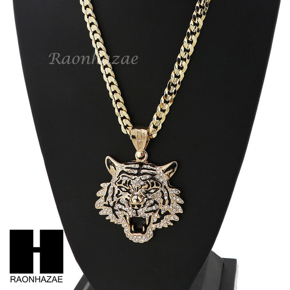 MENS HIP HOP TIGER PENDANT & DIAMOND CUT CUBAN LINK CHAIN NECKLACE NN57 - Raonhazae