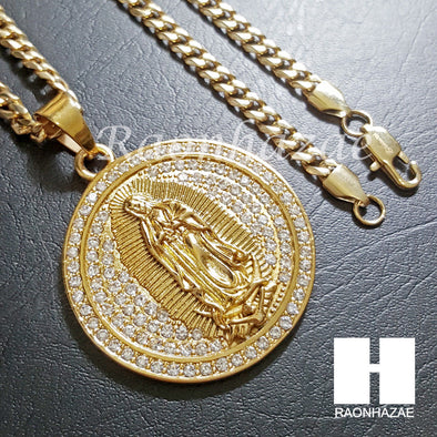 316L Stainless steel Gold Bling Guadalupe w/ 5mm Cuban Chain SG4 - Raonhazae