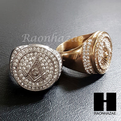 NEW ICED OUT FREEMASON G MASONIC GOLD & SILVER TONE 2PCS BLING RING SET 8-12 S96 - Raonhazae