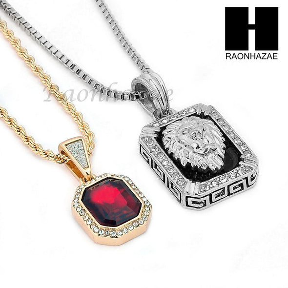 "ICED OUT RUBY SILVER LION DIAMOND CUT 30"" CUBAN LINK BOX ROPE NECKLACE SC048G - Raonhazae"