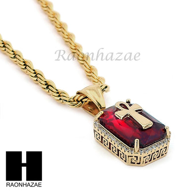 "STAINLESS STEEL ICED OUT RUBY ANKH CROSS PENDANT 24"" ROPE CHAIN NECKLACE NP019 - Raonhazae"