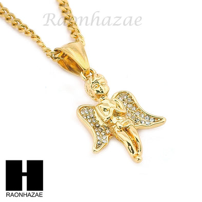 "MENS STAINLESS STEEL MINI ANGEL CZ PENDANT 24"" CUBAN NECKLACE SET NP006 - Raonhazae"