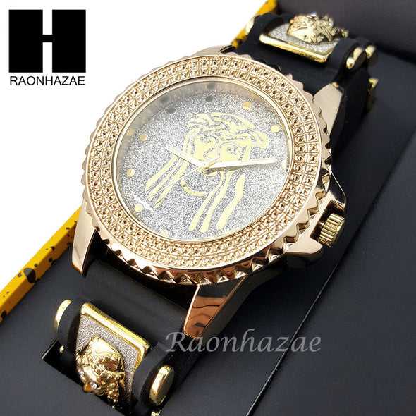 MEN ICED OUT TECHNO PAVE WATCH & JESUS PENDANT CUBAN CHAIN NECKLACE GIFT SET S74 - Raonhazae