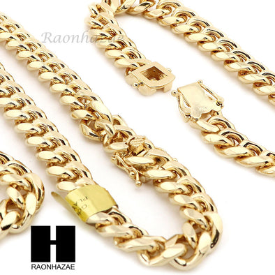 14k Gold Finish Heavy 10mm Miami Cuban Link Chain Necklace Bracelet Various Set - Raonhazae