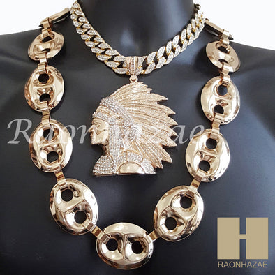 "HIPHOP Run DMC Apache Pendant 16"" Choker 30"" Puffed Gucci Cuban Chain 1 - Raonhazae"