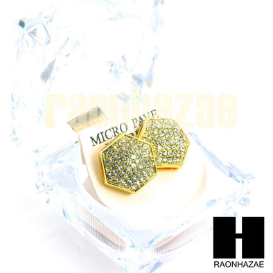 Hip Hop Drake Gold PT Micro Pave Iced Out 15mm Big Bling Hexagon Earrings GE137G - Raonhazae