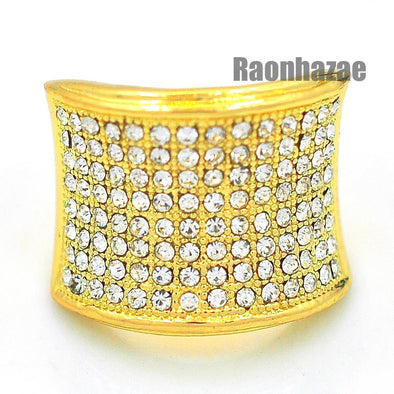 MENS HIP HOP RAPPER CHUNKY PAVE 14K GOLD PLATED RING SIZE 7 - 12 N010G - Raonhazae