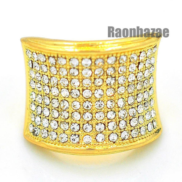 MENS HIP HOP RAPPER CHUNKY ICED OUT PAVE 14K GOLD PLATED RING SIZE 7 - 12 N010G - Raonhazae