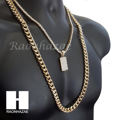 "ICED OUT CARDI B DOG TAG CHARM 16""-30"" TENNIS CHAIN 30"" CUBAN CHAIN NECKLACE G29 - Raonhazae"