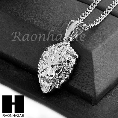 "MEN STAINLESS STEEL ICED OUT MINI LION FACE PENDANT 24"" CUBAN NECKLACE SET NP002 - Raonhazae"