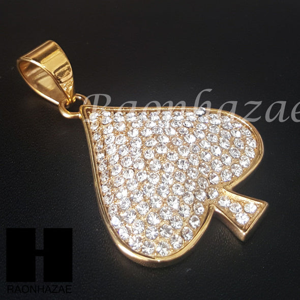 Las Vegas 316L Stainless steel Gold Spade Ace A Pendant Miami Cuban SS028 - Raonhazae