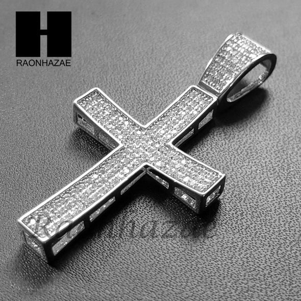 Lab Diamond Rhodium PT Jesus Cross Pendant w/ 4mm Cuban Chain B08S - Raonhazae