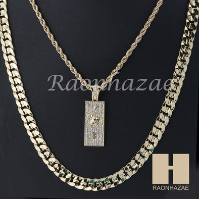 "100 Dollar ROPE CHAIN DIAMOND CUT 30"" CUBAN LINK CHAIN NECKLACE SS06G - Raonhazae"