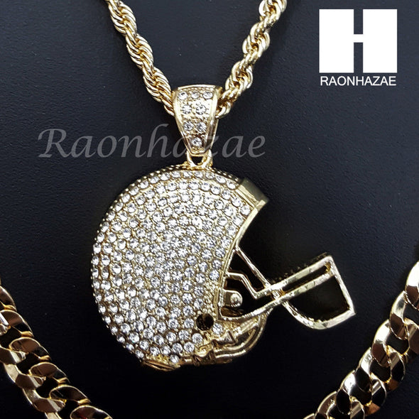 "FOOTBALL HELMET ROPE CHAIN DIAMOND CUT 30"" CUBAN CHAIN NECKLACE SET G9 - Raonhazae"
