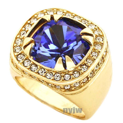 NEW MENS BIG CHUNKY GOLD PLATED ICED OUT RICH GANG BLUE SAPPHIRE