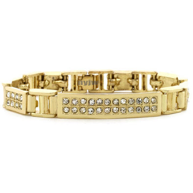 "ICED OUT 14K GOLD PLATED MICRO PAVE SIMULATED DIAMOND 8.5"" BRACELET KB012G - Raonhazae"