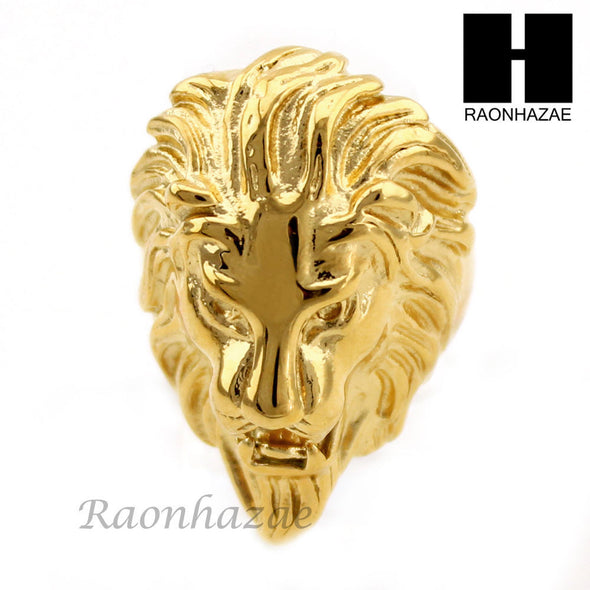 MEN STAINLESS STEEL 14K GOLD TONE LION FACE RING 8-12 SR036CL - Raonhazae