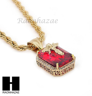 "STAINLESS STEEL ICED OUT RUBY ANGEL CZ PENDANT 24"" ROPE CHAIN NECKLACE NP020 - Raonhazae"