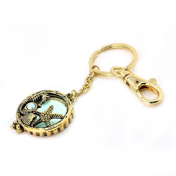 5X Magnifying Glass Starfish Seahorse Key Chain Pendant Chain Necklace Set SJ5G - Raonhazae