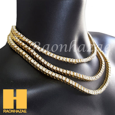 Hip Hop Iced Out Tennis Choker Necklace 1 Row Solitaire Lab Diamond 4.5mm Chain - Raonhazae