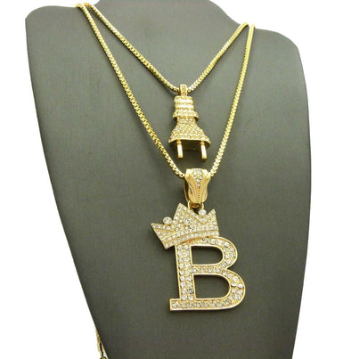 14K Gold Plated Electric Power Plug & King 'B' Pendant Necklace Set 04 - Raonhazae