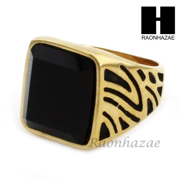 MEN STAINLESS STEEL HIP HOP 14K GOLD PLTED BLACK ONYX RING 8-12 SR029CL - Raonhazae