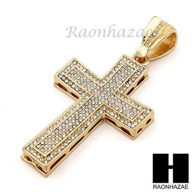 "Hip Hop 14k Gold Plated 2Pac Cross PAVE Pendant 30"" Cuban Link Chain N2 - Raonhazae"