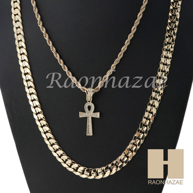 "ANKH CROSS ROPE CHAIN DIAMOND CUT 30"" CUBAN LINK CHAIN NECKLACE SS07G - Raonhazae"