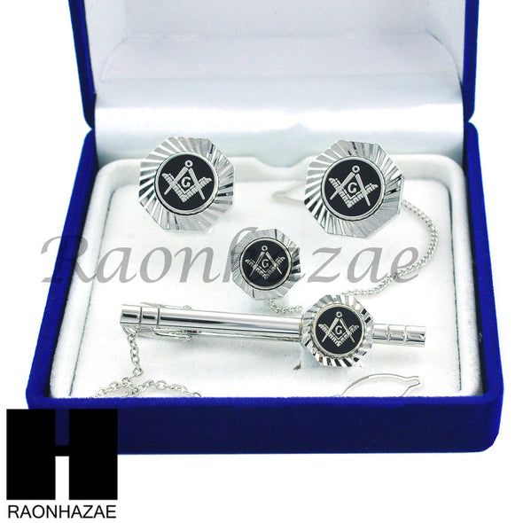MENS 14K WHITE GOLD FREEMASON MASONIC SIGN G CUFFLINKS TIE PIN TIE CLIP GIFT BOX - Raonhazae