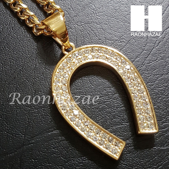 316L Stainless steel Gold Horse Shoe w/ 5mm Cuban Chain SG20 - Raonhazae