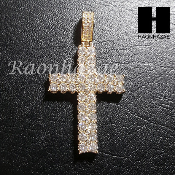 "Sterling Silver .925 AAA Lab Diamond Cross w/2.5mm 20"" 24"" Moon Cut Chain S42G - Raonhazae"