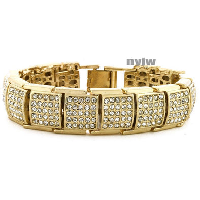 "HIP HOP GOLD PLATED MICRO PAVE SIMULATED DIAMOND 8.5"" BRACELET KB025G - Raonhazae"