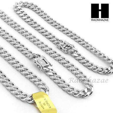 14k White Gold Finish 6mm Miami Cuban Link Chain Necklace Bracelet Various Set C - Raonhazae