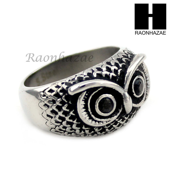 MEN STAINLESS STEEL HIP HOP ANTIQUE SILVER TONE OWL w/ ONYX RING 8-12 SR027CL - Raonhazae