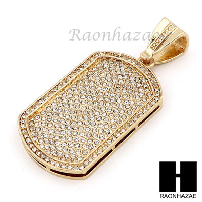 "Hip Hop 14k Gold Plated Dog Tag Pave Pendant 30"" Iced Out Cuban Link Chain N08 - Raonhazae"
