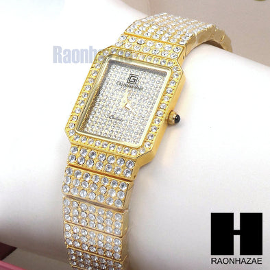 Luxury 18K Gold Plated Bracelet Watch Lab Simulated Diamond Watch WW04 - Raonhazae